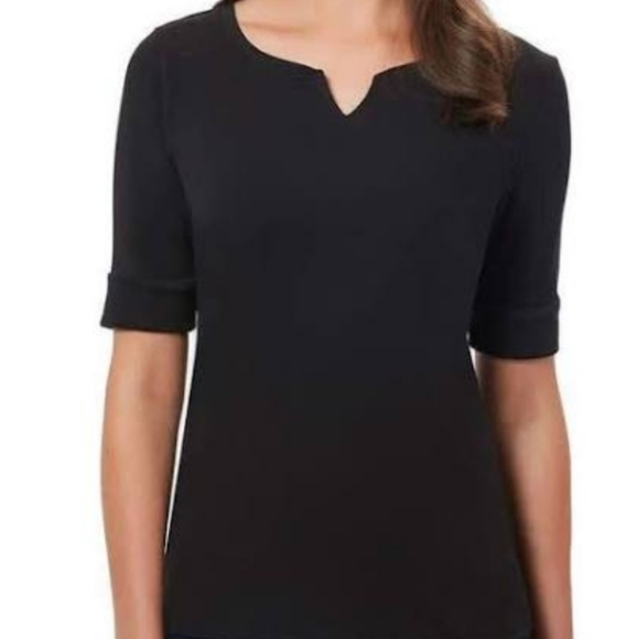 "Ellen Tracy women""s V-Neck Elbow Sleeve Top"